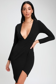 Make It Hot Black Long Sleeve Bodycon Dress at Lulus.com!