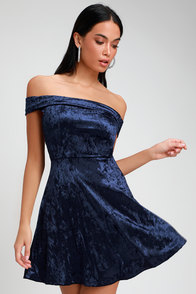 Season Of Fun Navy Blue Velvet Off-the-Shoulder Skater Dress at Lulus.com!