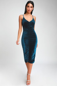 Catherine Teal Blue Velvet Ruched Bodycon Midi Dress at Lulus.com!