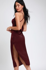 Award Winner Plum Purple Satin Sleeveless Midi Dress at Lulus.com!
