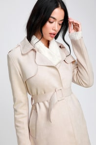 Collin Light Beige Vegan Suede Trench Coat at Lulus.com!