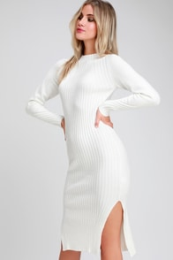 Snuggle Party Ivory Mock Neck Midi Sweater Dress at Lulus.com!
