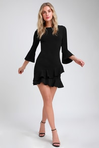 Sensational Statement Black Ruffled Bodycon Dress at Lulus.com!
