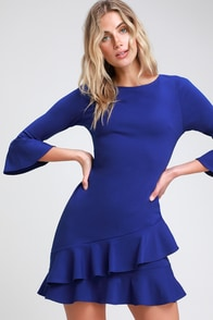 Sensational Statement Royal Blue Ruffled Bodycon Dress at Lulus.com!
