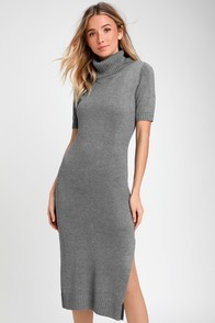 Coffee Date Grey Turtleneck Midi Sweater Dress at Lulus.com!