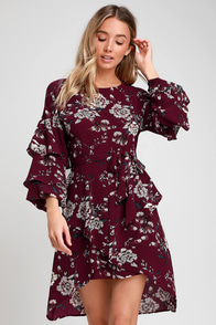 Dashing Days Burgundy Floral Print Tiered Flounce Sleeve Dress at Lulus.com!