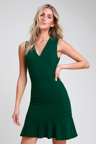 Dashing Dame Forest Green Sleeveless Flounce Dress at Lulus.com!