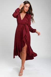 Philicia Burgundy Satin Midi Wrap Dress at Lulus.com!