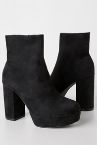 Layne Black Suede Platform Ankle Booties at Lulus.com!