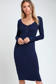Crestline Navy Blue Ribbed Long Sleeve Bodycon Midi Dress at Lulus.com!