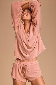 Cozy as Can Be Blush Pink Drawstring Shorts