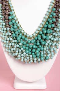 Last Century Teal Beaded Necklace at Lulus.com!