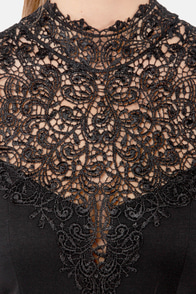 Renaissance Court Lace Black Dress at Lulus.com!