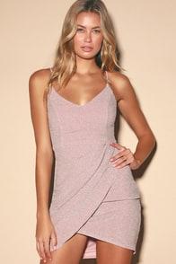 Forever Your Girl Metallic Blush Pink Bodycon Dress