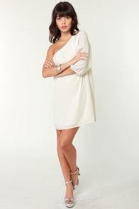 C'mon Get Happy One Shoulder Ivory Dress
