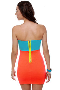 Ne-On Time Strapless Blue and Neon Orange Dress at Lulus.com!