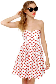 Mink Pink Memories Strapless Polka Dot Dress at Lulus.com!