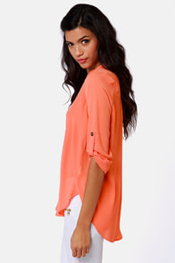 V-sionary Coral Top at Lulus.com!