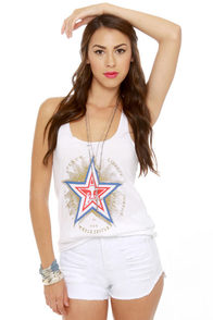 Obey Peace Liberty Star Print Tank Top at Lulus.com!