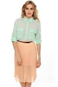Obey Sunset Pleated Peach Midi Skirt