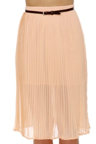 Obey Sunset Pleated Peach Midi Skirt at Lulus.com!