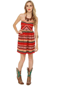 Roxy Fall Doll Strapless Red Striped Dress at Lulus.com!