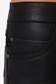 Tripp NYC High Waist Black Vegan Leather Shorts at Lulus.com!