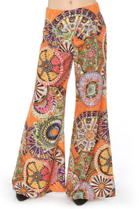 Just Fantastic Wide Leg Orange Print Pants at Lulus.com!