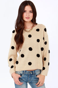 Dots Amore Beige Polka Dot Sweater