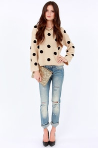 Dots Amore Beige Polka Dot Sweater at Lulus.com!