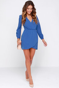 That's a Wrap Blue Long Sleeve Dress at Lulus.com!