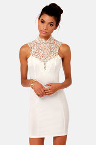 Renaissance Court Lace Ivory Dress at Lulus.com!