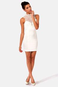 Renaissance Court Lace Ivory Dress at Lulus.com!