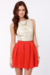 Everything Illuminated Coral Red Skirt at Lulus.com!