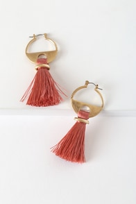 Cha Cha Gold and Coral Pink Tassel Earrings