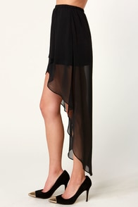 Fall for It High-Low Black Skirt at Lulus.com!