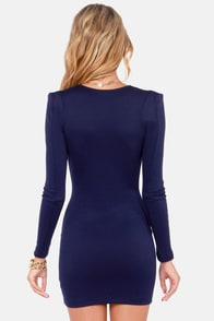 Foreign Film Navy Blue Dress at Lulus.com!