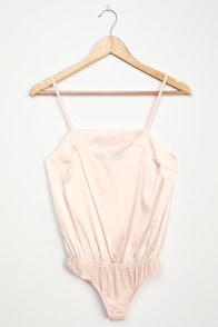 Luxe Be a Lady Pale Pink Satin Bodysuit