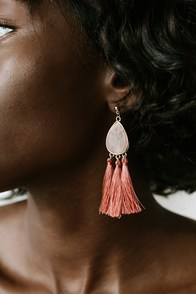 Something Stunning Pink Tassel Earrings
