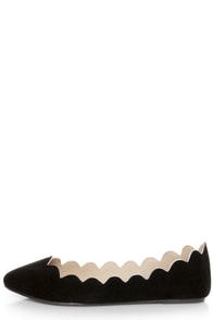 LULUS Scallopini Black Scalloped & Pointed Flats