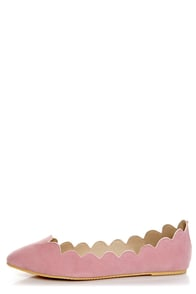 LuLu*s Scallopini Blush Pink Scalloped & Pointed Flats at Lulus.com!