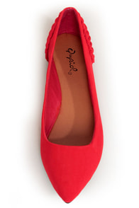 Qupid Site 05 Red Ruched Heel Pointed Flats at Lulus.com!