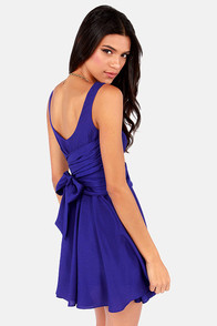Tie Me a River Royal Blue Dress