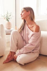 Leisure Time Blush Pink Off-the-Shoulder Sweatshirt