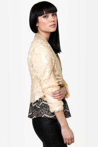 Luck Dragon Blush Sequin Jacket at Lulus.com!