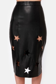 Starsky Black Vegan Leather Skirt at Lulus.com!