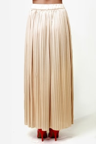 LULUS Exclusive Above and Beyond Champagne Maxi Skirt at Lulus.com!