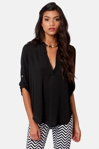V-sionary Black Top at Lulus.com!