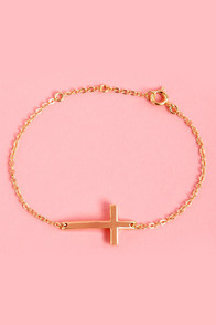 Crosswise Gold Cross Bracelet