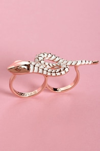 Wildfox Snake It Up Rose Gold Two-Finger Ring at Lulus.com!